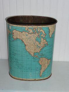 Vintage Metal Weibro World Map Waste Paper Basket Trash Can ...