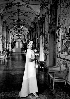 Marella Agnelli, in Givenchy, Marella in the Chinese gallery of her amazing house Villa Perosa. Henry Clarke 1962