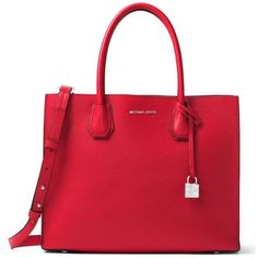 Michael Michael Kors Bright Red Kors Studio Collection Mercer Large... (4.600 ARS) ❤ liked on Polyvore featuring bags, handbags, tote bags, bright red, red crossbody purse, red crossbody, michael michael kors tote, lightweight tote and tote handbags