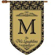 Monogrammed Swirly Vine Flag