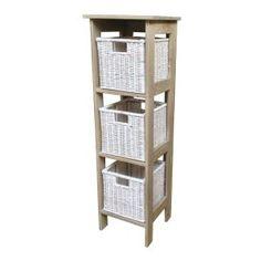 Tonia 3 Basket Storage Unit in Ash - Casafina