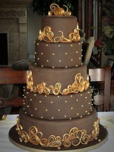 motivtorten selber machen braun und gold schoko torte tortendeko selber machen