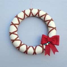 Christmas Yarn Wreath. Red, White and Green Argyle, Felt Bow. Traditional holiday door wreath.  $40.00 Modern Christmas Decor. 12 Inches.