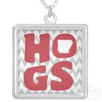 HOGS, Necklace with sterling silver plated chain. $37.00 from www.arkansooie.com #Arkansas #Razorbacks #WPS