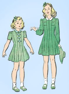 """Advance Pattern 2839 WWII Toddler Girls Princess Dress Dated 1941 Complete Nice Condition 11 of 11 Pieces Unprinted Pattern Pieces Counted. Verified. Guaranteed. Comes with Uncut Transfer Size 2 (21"""""""