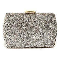 Flash Forward Metallic Glitter Clutch (3655 RSD) ❤ liked on Polyvore featuring bags, handbags, clutches, box clutch, white clutches, glitter box clutch, gold purse and metallic purse