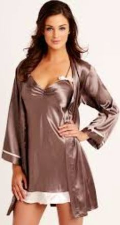 I love coffee colours, and this satin chemise and gown set is one I wear often in the warmer months.