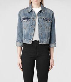 Womens Cropped Denim Jacket (Indigo)   ALLSAINTS.com