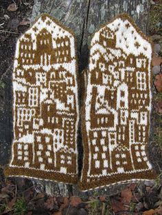 Cute little mittens with houses