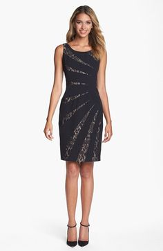 Adrianna Papell Lace Inset Sleeveless Sheath Dress---Nordstrom