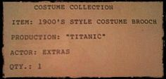 """Hang tag for 1900's Style Costume Brooch used in the movie """"Titanic""""."""