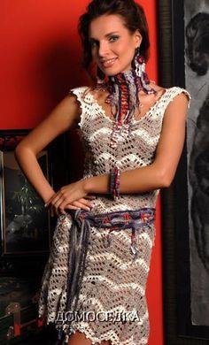 Платье связанное узором зигзаг крючком
