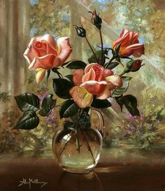 art-and-dream: Art painting wonderful style by Albert Williams Beautiful Paintings Of Flowers, Beautiful Flowers, Flower Paintings, Painting Flowers, Art Floral, Flower Vases, Flower Art, Rose In A Glass, Still Life Flowers