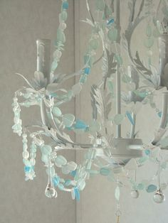 Sea Glass Chandelier Beach Cottage Chic by CoastalRadianceLites