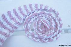 Long babyhat - Pink and cremewhite