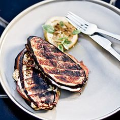 Grilled Eggplant Sandwiches  Time-saving Tip: Pre-cut slices of mozzarella keep prep time low. These flavorful sandwiches will cook in just six minutes.   | CoastalLiving.com