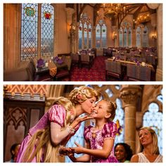 Dine with Disney Princesses in a storybook setting surrounded by soaring stone archways, majestic medieval flags and spectacular stained-glass windows overlooking New Fantasyland at Cinderella's Royal Table in Magic Kingdom Park
