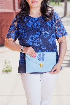 Detroit Debutante Blue Lace Tahari Top White Jeans Yellow Sunglasses Sandals Monogrammed Clutch Fashion