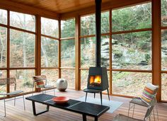 Contemporary Wood Burning Stoves Design Ideas, Pictures, Remodel and Decor