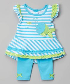 Another great find on #zulily! Blue Stripe Fish Tunic & Leggings - Infant, toddler & Girls #zulilyfinds