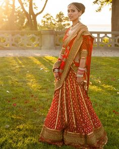 "Indian brides often trade their ""something white"" for ""something red."" That is because Hindu ceremonies call for a sari that is brightly colored and adorned with gold embroidery, symbolizing commitment, spirituality, and fertility. A bride might also apply a dash of red kumkuma powder to her forehead for good luck."