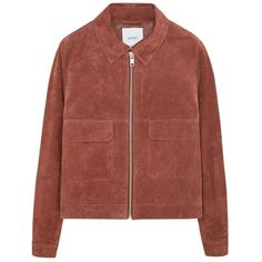 Mango Flap Pocket Jacket, Medium Orange ($84) ❤ liked on Polyvore featuring outerwear, jackets, brown leather jacket, real leather jacket, long sleeve jacket, orange jacket and short leather jacket