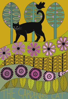 Like the multiple layers in this...   Art Illustration A4 Print Black Cat In Garden Stylised Art Folk Art Drawing Yellow Purple Green. $12.00, via Etsy.
