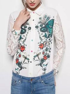 Ladies Pretty Printing Turn Down Collar Single-Row Buttons Long Sleeve Blouse on buytrends.com