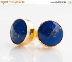 SALE  Blue Lapis Stud Earrings  September Birthstone by delezhen
