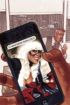 Amazing Spider-man 2018 Comic Sketch Art Adam Hughes Trade Dress Variant Cover A Amazing Spiderman, Spiderman Black Cat, Spiderman Girl, Black Cat Marvel, Comic Book Covers, Comic Books, Spider Man 2018, Adam Hughes, Dc Movies