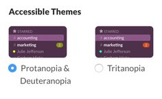 Slack App has themes for colour blind users #accessibility