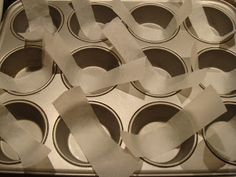 "Mini cheesecake tip from ""The more than occasional baker"" & ""joyofbaking.com"" -  line muffin tin with strips of parchment paper so cakes can be easily removed!"