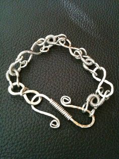 Chunky chain link silver tone wire  wrapped infinity bracelet by BLLstudio.