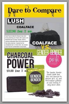 Lush Coalface vs. Perfectly Posh's Gender Bender! Check out the comparison! #thereisnocomparison #chooseposh #ohmyposh