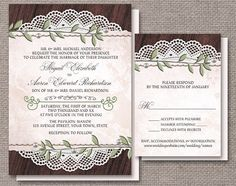 Rustic Vintage Wedding Invitations and matching RSVP reply cards , Leaves Pearls Lace and Wood