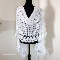 Crochet Flower Scarf, Boho Crochet, Lace Scarf, Crochet Shawl, Bridal Shawl, Wedding Shawl, Bridal Lace, Prayer Shawl, Crochet Capas