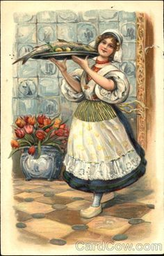 Lady Serving Fish Dutch Children