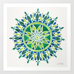 Watercolor Mandala – Green Art Print by Cat Coquillette | Society6
