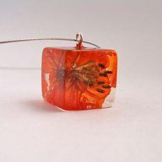 Orange Botanical Resin Necklace.  Handmade Resin Pendant.   Pressed Flower Pendant Necklace.  Real Pressed Flowers - Orange Cosmos. $37.00, via Etsy.
