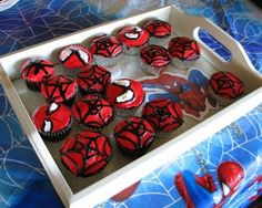 Make your own Spiderman cupcakes for delicious treats during your outdoor movie - A DIY idea for movie snacks at a backyard movie event by Southern Outdoor Cinema.
