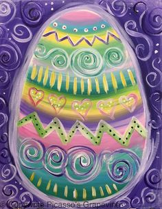 1119-Easter-Egg Life paint and sip, Picasso's Grapevine, Wine Painting Parties in Michigan, Painting Studio, Wine Painting Parties, Clarkston