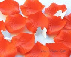 silk persimmon flower | 1000 pcs Persimmon Bright Hot Orange Silk Rose Petals Wedding Flower ...