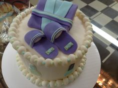 Spa day birthday cake. 6 inch cake iced in buttercream with fondant spa decorations.