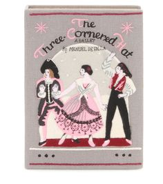 Olympia Le-Tan - The Three-Cornered Hat Book clutch - The Three-Cornered Hat is a ballet choreographed by Léonide Massine to music by Manuel de Falla. This Spanish story is revisited here by Olympia Le-Tan on this adorable box clutch. The story's main characters dance Spanish-style in romantically coloured embroidery that will add a playful finish to any look. Carry it in hand for a studious fashionista vibe. seen @ www.mytheresa.com