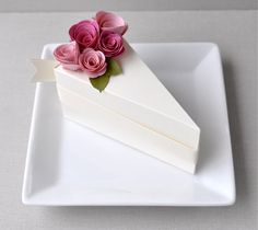 Items similar to Garden Party Series - PAPER Cream cake slice favor box with blossom and fuchsia flowers slice) on Etsy Wedding Boxes, Wedding Favors, Party Favors, Wedding Cake, Shower Favors, Shower Invitations, Wedding Ceremony, Cake Slice Boxes, Box Cake