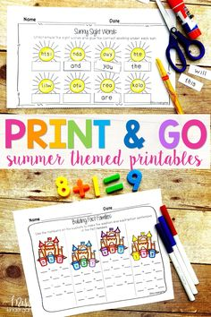 Hooray for kindergarten printables! Use these worksheets to practice summer sight words, writing and math! They're great for homeschool activities and are 100% fun! #printables #kindergarten #misskindergarten