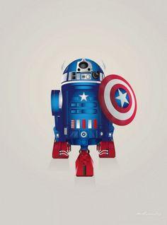 R2-D2 as Captain America.