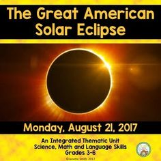 This thematic unit is full of engaging and quality activities in all areas of curriculum to help students develop a strong conceptual understanding of the upcoming solar eclipse. This is such a unique opportunity for all! Get students exited about this up Solar Eclipse Activity, Solar Eclipse 2017, 5th Grade Science, Middle School Science, Science Lessons, Science Activities, Science Fun, Sun Solar, Thematic Units
