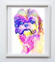 Shih tzu dog art Print from watercolor Painting Shih tzu dog Portrait light violet, pink decor art Shihtzu print by… #dogs #etsy #art