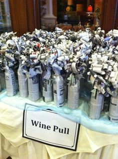 Wine Wall for Your Charity Auction Fundraiser — Charity Auctioneer Jim Miller : Wine raffle idea-Have a few expensive bottles mixed with cheaper wines New twist. Casa Rock, Mishloach Manos, Wine Pull, Fete Ideas, Event Ideas, Stag And Doe, Little Mac, Raffle Baskets, Gift Baskets